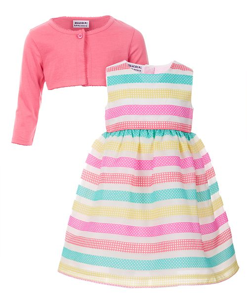BlueBeri Boulevard Toddler Girls 2-Pc. Cardigan   Printed-Striped Dress Set c58aac9a0